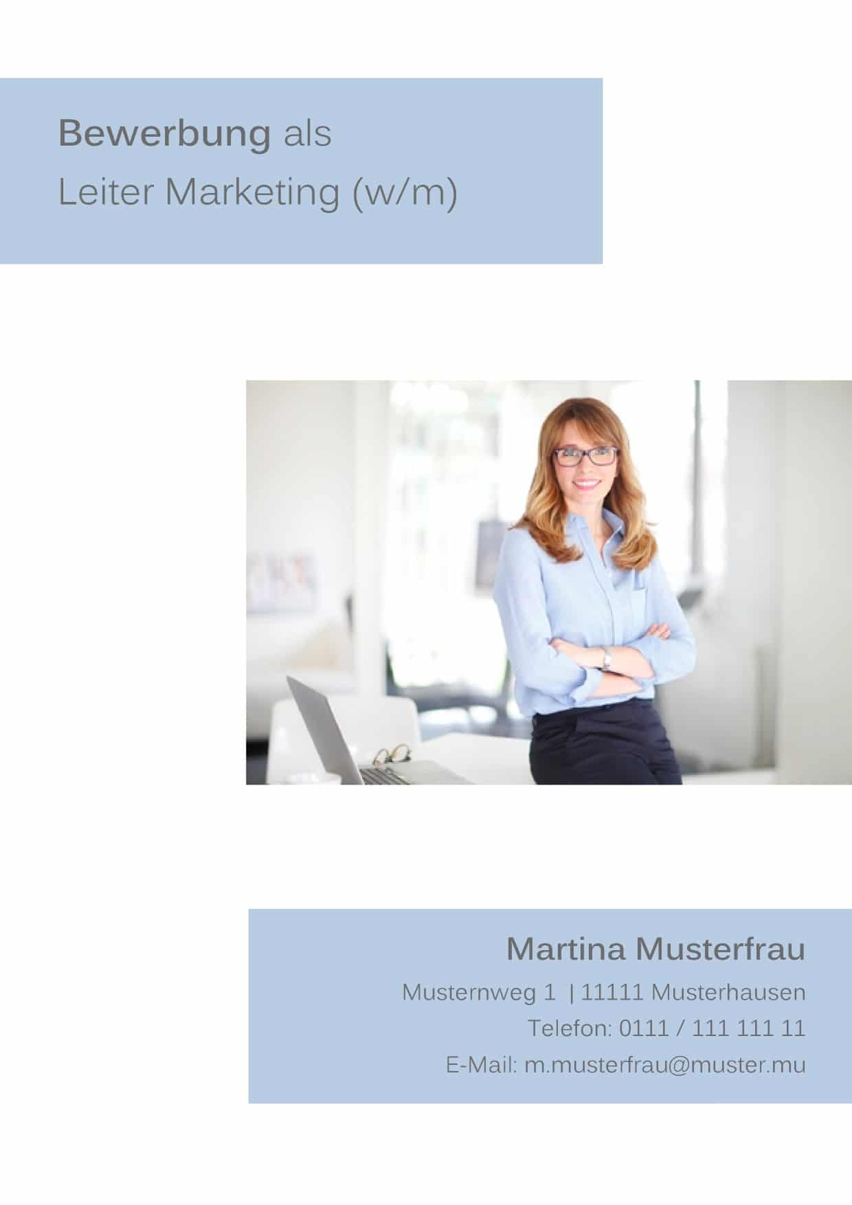 Deckblatt 33 - Marketing / Marketing Manager / Marketing Expert / Leiterin / Projektleiterin - Bewerbungsdeckblatt Muster