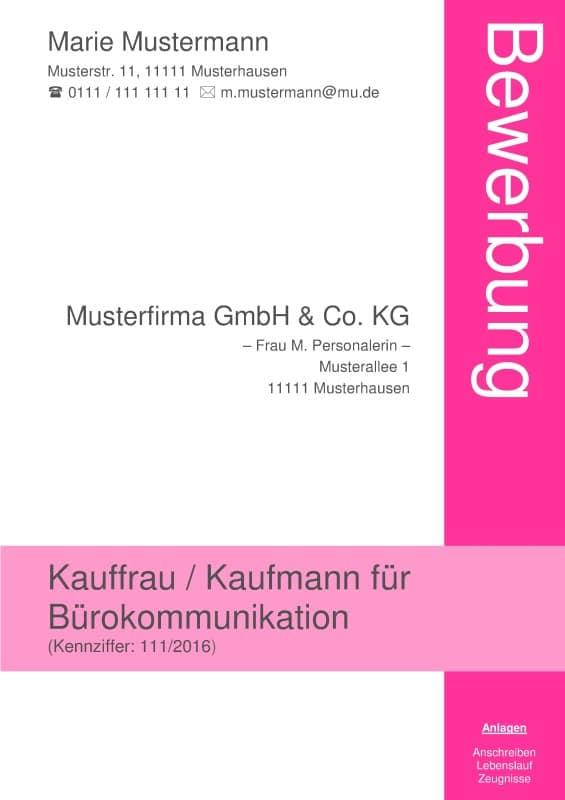 Kostenloses Deckblatt Muster ohne Foto zum Download. Z. B. für Kaufleute / Kaufmann / Kauffrau / Industriekauffrau / Industriekaufmann