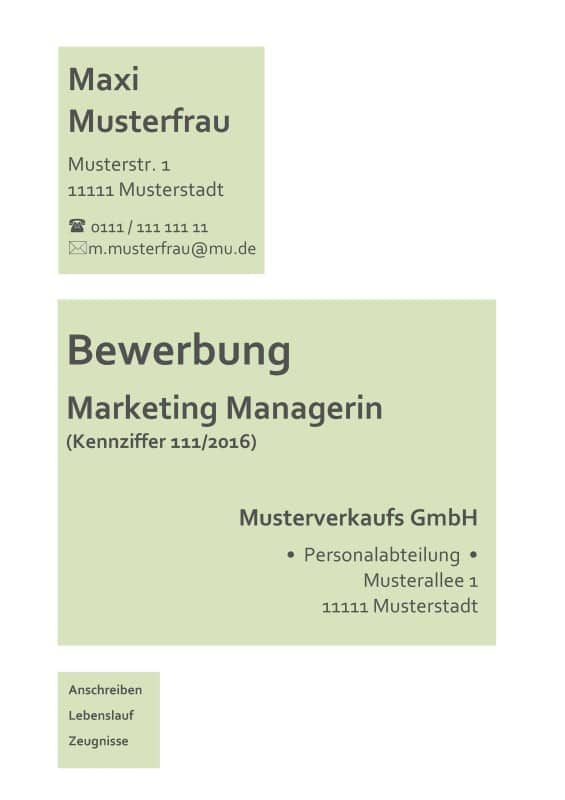 deckblatt bewerbung kostensloses muster für marketing berufe z. B. Marketing Manager / Managerin