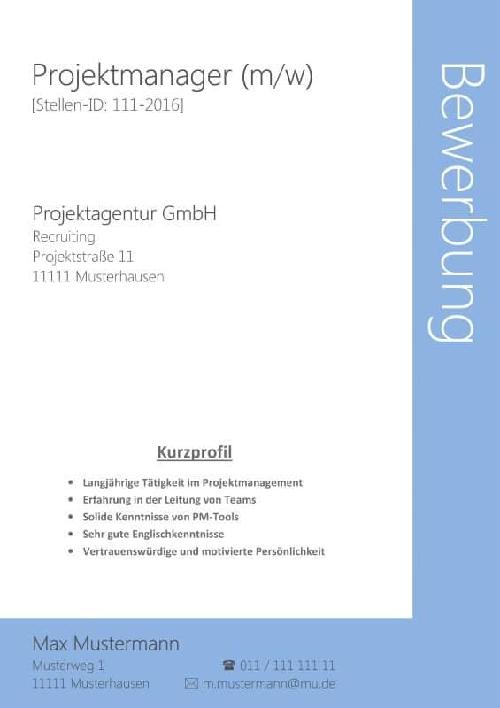 Bewerbung Deckblatt ohne Foto Nr. 19 - Kostenloses Download - Z. B. für Projektmanager / Projektmanagement / Sachbearbeiterin / Sachbearbeiter / Verwaltungsfachangestellte usw.