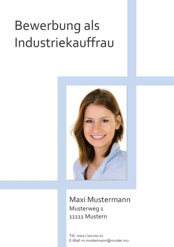 Deckblatt Muster für die Bewerbung als Industriekauffrau oder Industriekaufmann