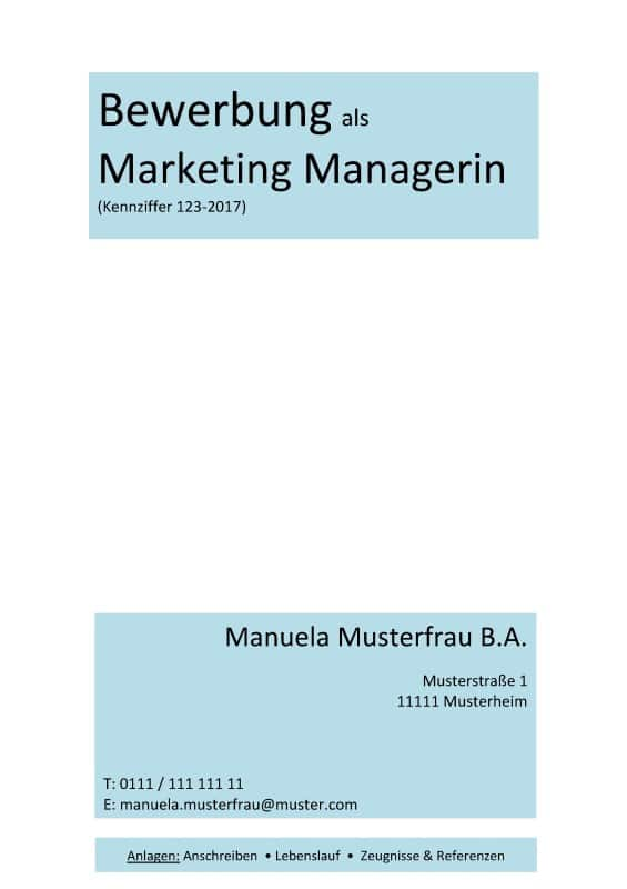 Deckblatt ohne Foto kostenloses Muster / kostenlose Vorlage - Marketing / kreative Berufe / Marketing Manager / CRM Manager / Content Manager