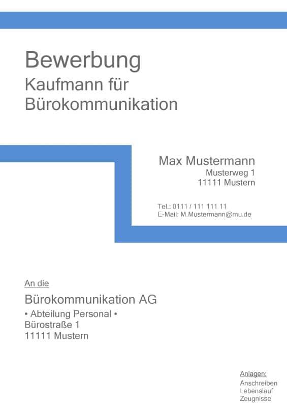 Deckblatt ohne Foto - Muster und Vorlage - z. B. Kauffrau / Kaufmann für Bürokommikation / Industriekaufmann / Kaufmann / Kauffrau