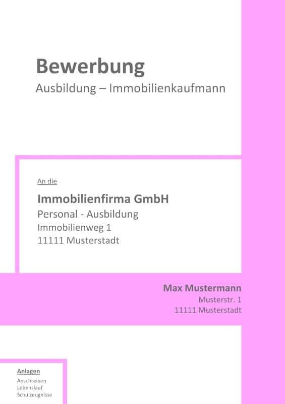 Deckblatt ohne Foto - Muster / Vorlage für Immobilienkauffrau / Immobilienkaufmann