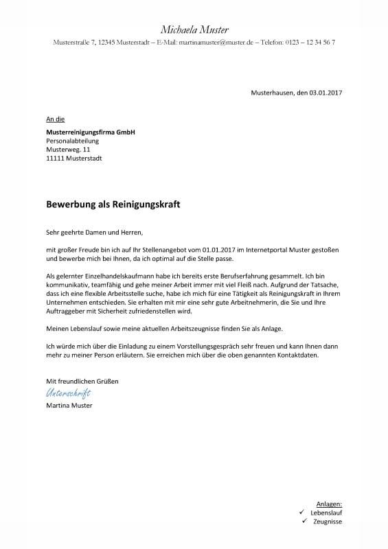 Bewerbung Reinigungskraft - Kostenlose Muster / Vorlagen & Tipps!