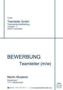 Deckblatt Bewerbung ohne Foto - Kostenloses Muster & Vorlage - z. B. für Teamleiter / Führungsposition / Projektmanagement usw. - Schlicht und strukturiert mit blauen Farben.