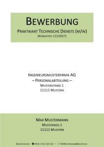 Deckblatt   Bewerbung Praktikum   Kostenlose Muster & Vorlagen!