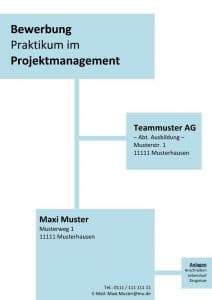 Deckblatt Bewerbung Praktikum Kostenlose Muster Vorlagen