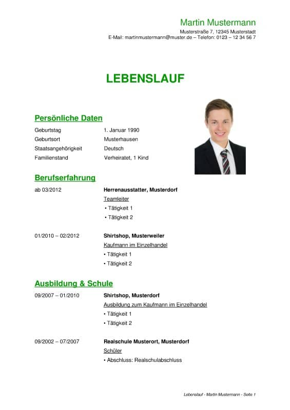 lebenslauf download