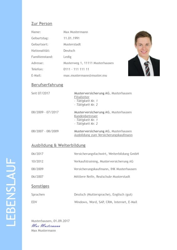 An example for a German job application Lebenslauf resp. CV or Resume.