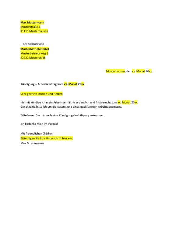 Kündigungsschreiben Wichtige Infos Fristen Kostenlose Vorlagen
