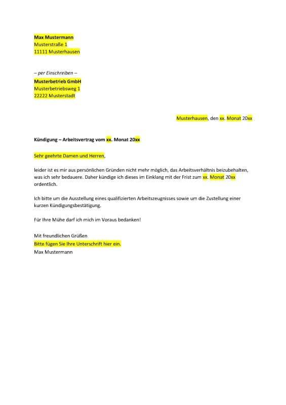 Muster eines Kündigungsschreibens zum kostenlosen Download.